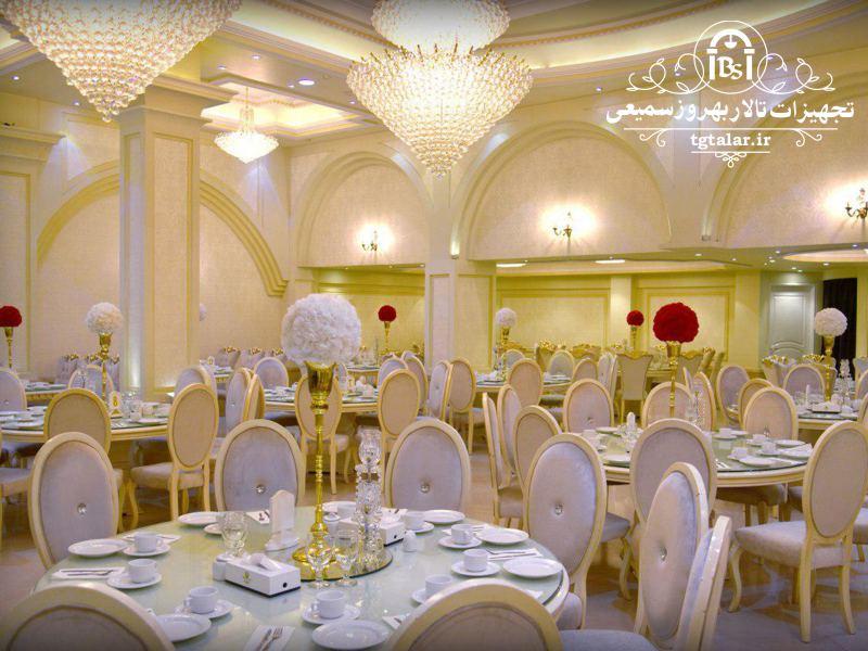 میز تالار , میز و صندلی تالار , تجهیزات تالار , جایگاه عروس و داماد , صندلی شیواری , صندلی چیواری , صندلی تالار
