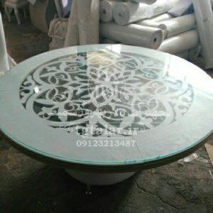 میز CNC با باکس فلزی و چرمی | میز تالار | میز فلزی | میز چرمی