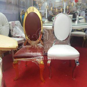 صندلی بیضی نقره ای و طلایی | انواع صندلی تالار |
